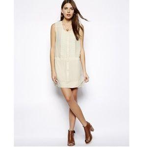 Aryn K Drop Waist Embroidered Silk Shirt Dress M